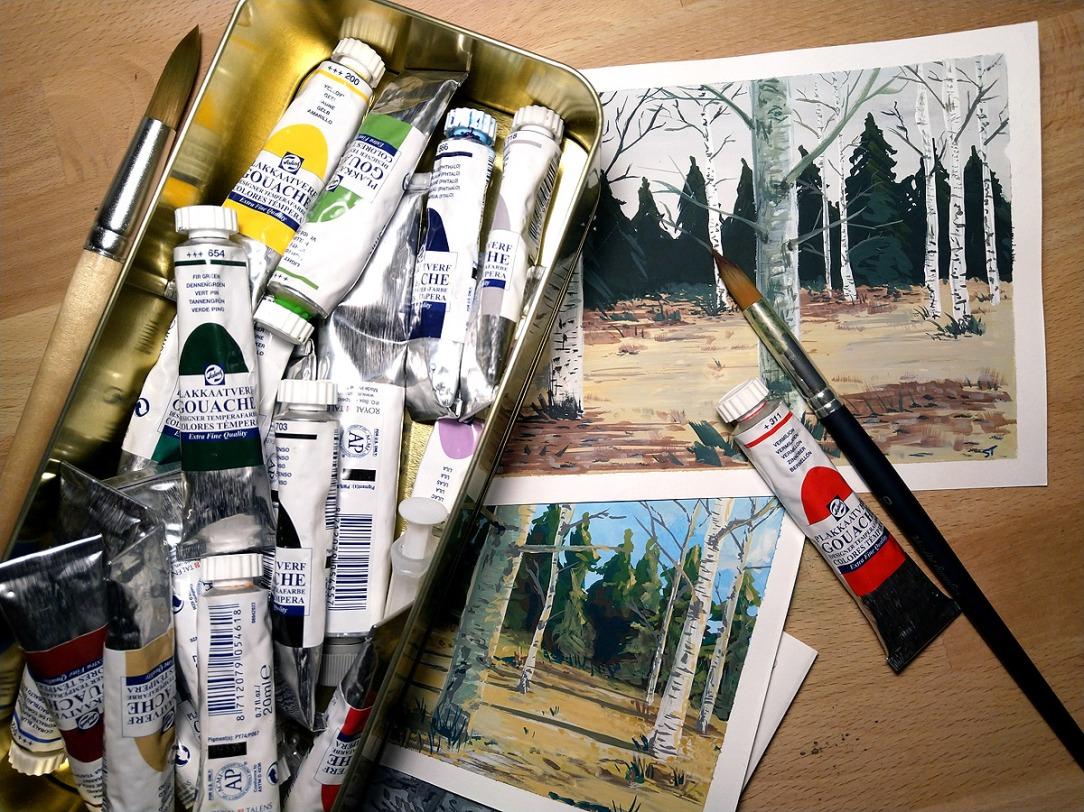 Gouache painting