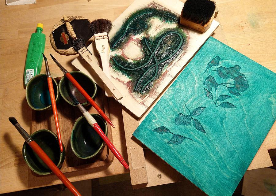 Wood block printing, water color