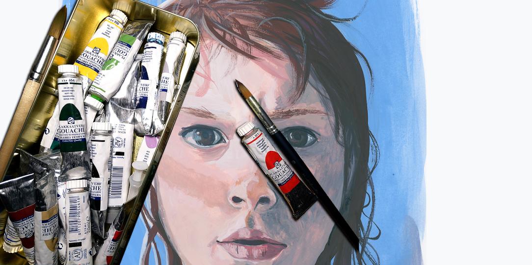 Gouache painting portrait