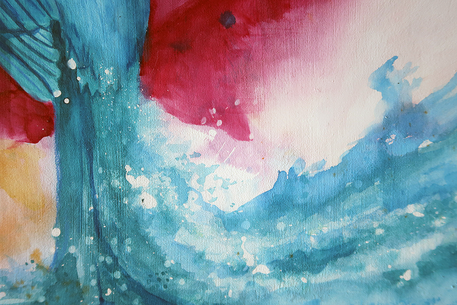 Water color painting on panel