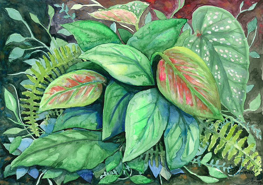 Foliage water color painting