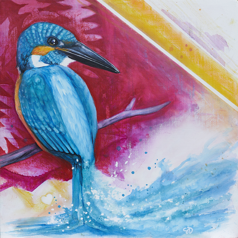 King of The River (2019) - watercolors on wooden panel
