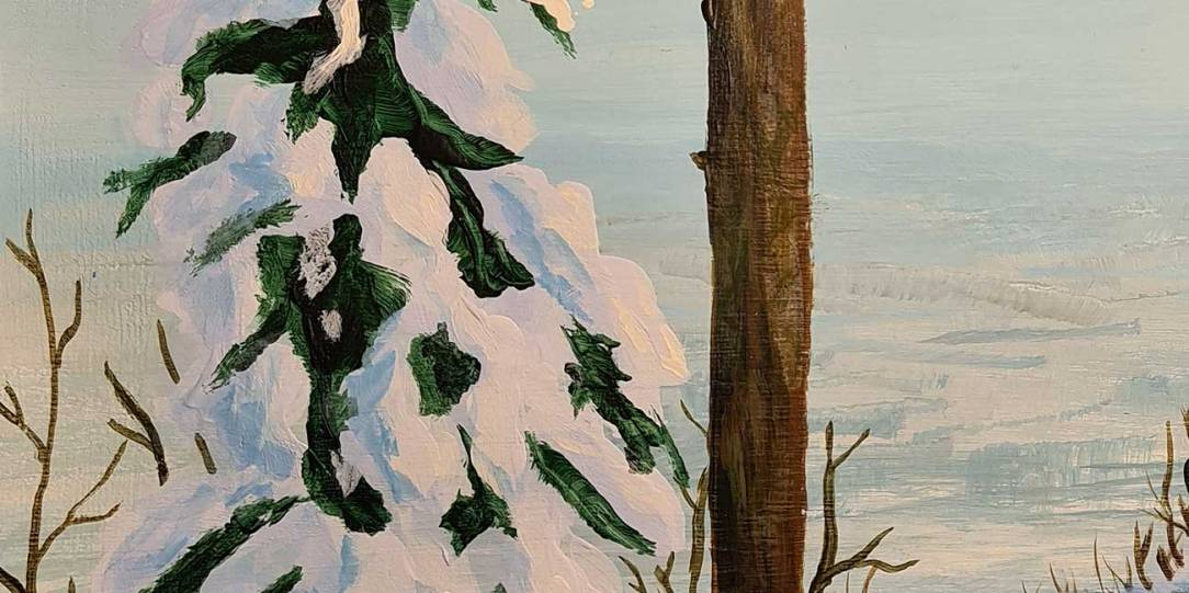 Acrylic painting, landscape painting of a snowy winter scene